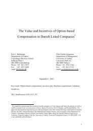 The Value and Incentives of Option-based Compensation in Danish ...