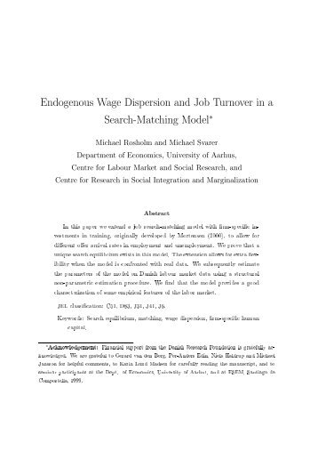 Endogenous Wage Dispersion and Job Turnover in a Search ...