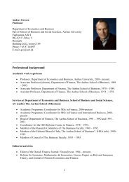 Professional background - Department of Economics and Business