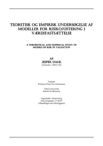 teoretisk og empirisk teoretisk og empirisk undersøgelse af ...