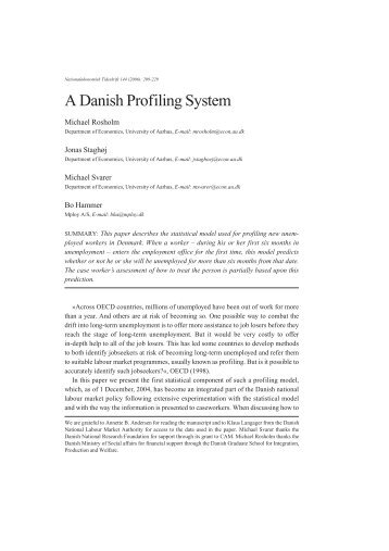 A Danish Profiling System - W.E. Upjohn Institute for Employment ...