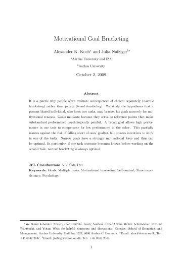 Motivational Goal Bracketing - School of Economics and ...