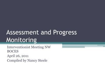 Assessment and Progress Monitoring