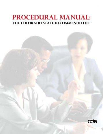 CDE IEP Procedural Manual - NW Colorado BOCES