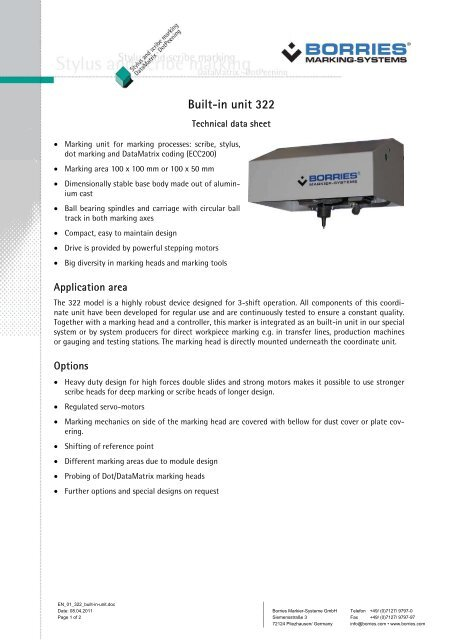 Built-in unit 322 - Borries Markier-Systeme GmbH