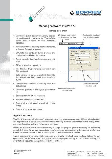 Marking software VisuWin SE - Borries Markier-Systeme GmbH