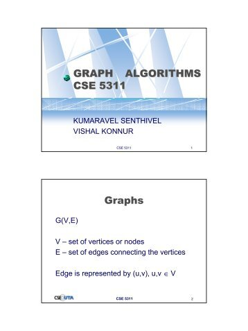 GRAPH ALGORITHMS CSE 5311 Graphs - Crystal