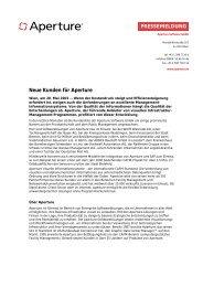 Neue Kunden für Aperture - Aperture -- Software GmbH