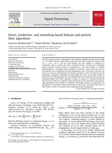 Direct, prediction- and smoothing-based Kalman and particle filter ...