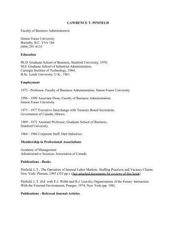 lawrence t. pinfield - Beedie School of Business