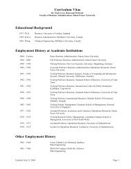 Curriculum Vitae Educational Background Employment History at ...