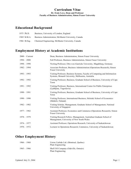 Curriculum Vitae Educational Background Employment History At