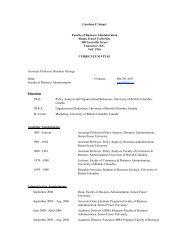Carolyne F. Smart Faculty of Business Administration Simon Fraser ...