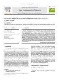 Molecular informatics of nano-communication based on cells: A brief ...