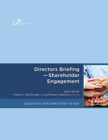 Directors Briefing — Shareholder Engagement - Canadian Institute ...