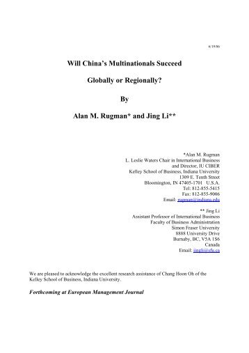 Will China's Multinationals Succeed Globally or Regionally? By Alan ...