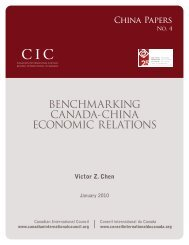 benchmarking canada-china economic relations - Asia Pacific ...