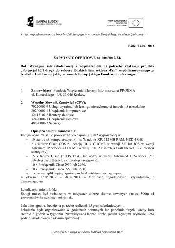 Zapytanie ofertowe 04 2012 - Proidea