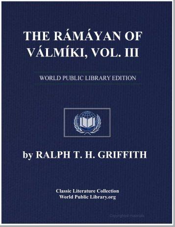 THE RÁMÁYAN OF VÁLMÍKI, VOL. III - Gujarat Knowledge Centre