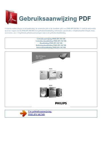 Gebruiksaanwijzing PHILIPS MCM8 - GEBRUIKSAANWIJZING PDF