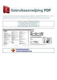 Gebruiksaanwijzing CANON POWERSHOT A85