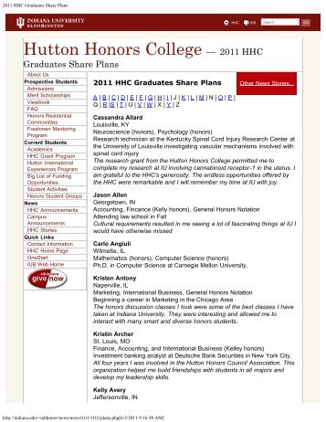 2011 HHC Graduates Share Plans.pdf - AIM @ IU Home - Indiana ...