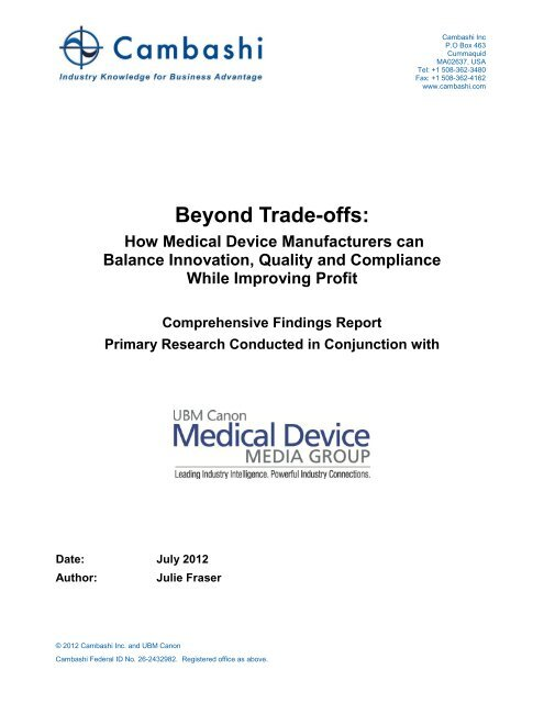 Beyond Trade-offs: How Medical Device Manufacturers can ... - Apriso