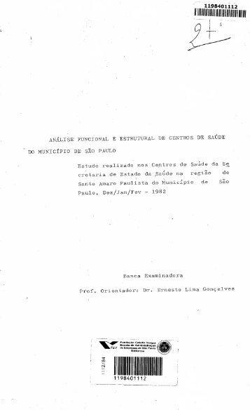 AN.Á_LISEFUNCIONAL E ESTRUTURAL DE CENTROS DE SAúDE ...