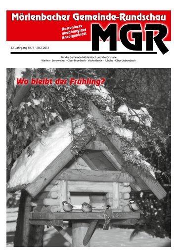 Tel. 0 62 09/44 66 - Mörlenbacher Gemeinde Rundschau