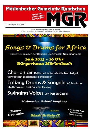 Songs & Drums for Africa - Mörlenbacher Gemeinde Rundschau