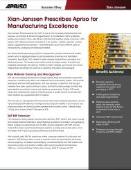 Xian-Janssen Prescribes Apriso for Manufacturing Excellence