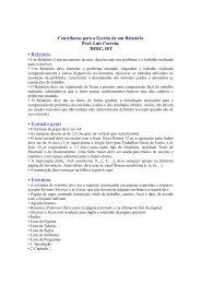 • Relatório • Formato geral • Estrutura