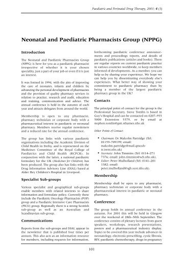 Neonatal and Paediatric Pharmacists Group (NPPG) - BMJ Group