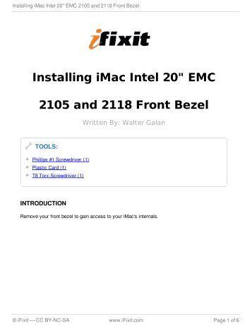 "Installing iMac Intel 20"" EMC 2105 and 2118 Front Bezel - iFixit"