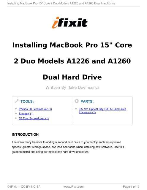 Installing MacBook Pro 15