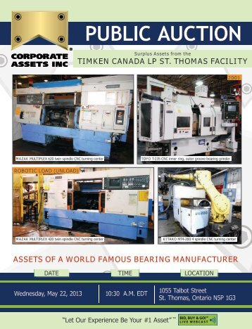 TIMkEN CANADA LP ST. ThOMAS FACILITY - Corporate Assets Inc.