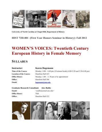 WOMEN'S VOICES - History - University of North Carolina at Chapel ...