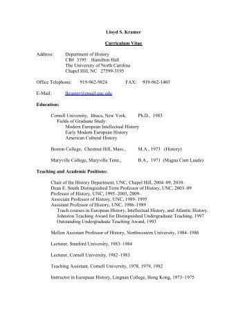 Lloyd S. Kramer Curriculum Vitae Address: Department of History ...