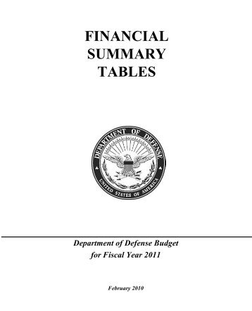 financial summary tables - Office of the Under Secretary of Defense ...