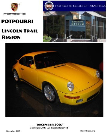 POTPOURRI Lincoln Trail Region - Lincoln Trail - Porsche Club of ...
