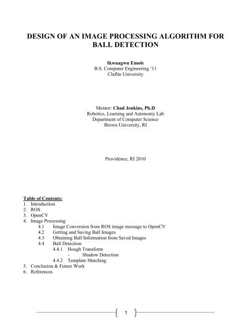 Design Of An Image Processing Algorithm For Ball Detection