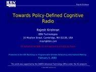 Towards Policy-Defined Cognitive Radio - CRA