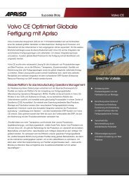 Volvo CE Optimiert Globale Fertigung mit Apriso
