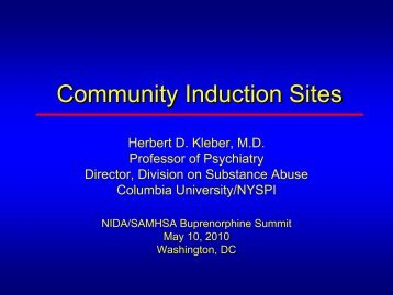 Community Induction Sites - Buprenorphine
