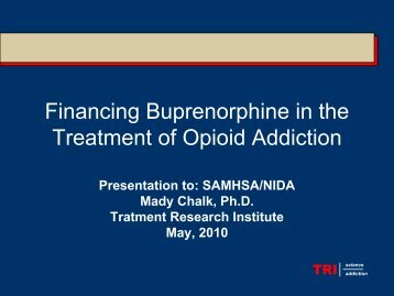 Financing Buprenorphine in the Treatment of Opioid Addiction