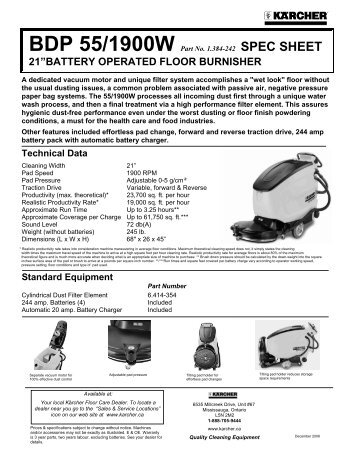 "21""battery operated floor burnisher - Welcome to Karcher Canada"