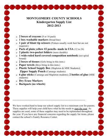 Montgomery county schools kindergarten supply list 2012-2013