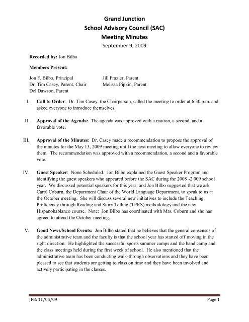 Meeting Minutes - Grand Junction High School