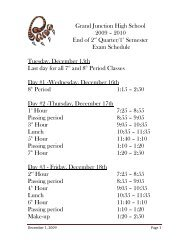 2010 End of 2nd Quarter/1st Semester Exam Schedule Tuesday ...