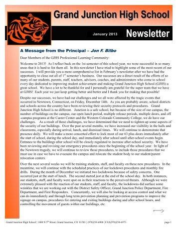 January Newsletter - Grand Junction High School